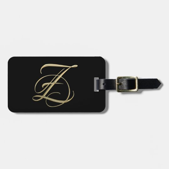 Golden initial Z monogram Luggage Tag