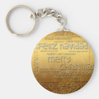 Golden International Christmas Greeting - Keychain