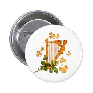 Golden Irish Harp - Erin Go Bragh 6 Cm Round Badge