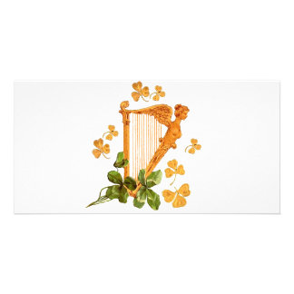 GOLDEN IRISH HARP PICTURE CARD