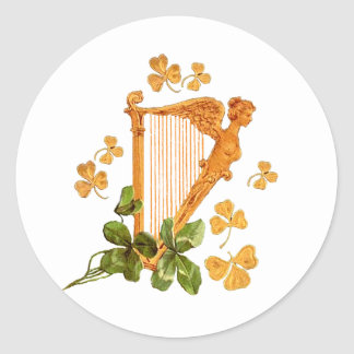 GOLDEN IRISH HARP ROUND STICKER