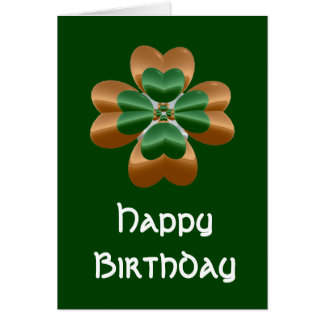 Golden Irish Shamrock Happy Birthday Card