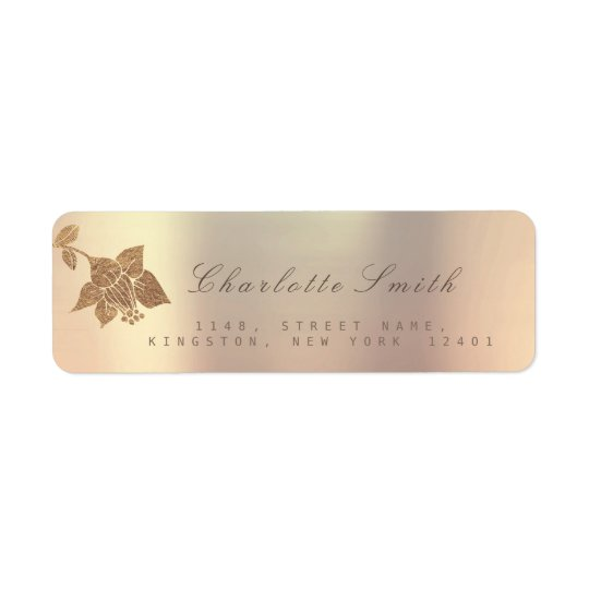 Golden Ivory Pink Pearly Lily Black Return Address
