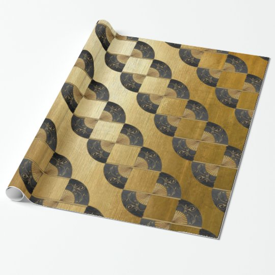 Golden Jacob's Ladder with Oriental Fans Wrapping Paper