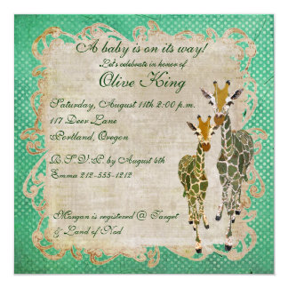 Golden Jade Giraffes Baby Shower Invitation