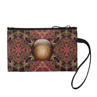Golden Jewel against Red Tapestry Design Coin Purse