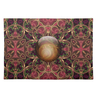 Golden Jewel against Red Tapestry Design Placemat