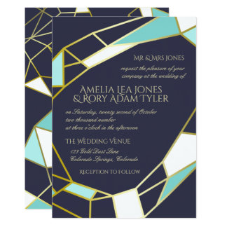 Golden Jewel Outlines | Navy & Turquoise Wedding Card