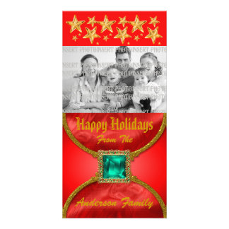 Golden Jeweled Christmas Photo Card