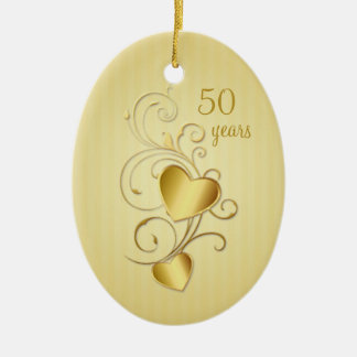 Golden joined hearts 50th Wedding Anniversary Christmas Ornament