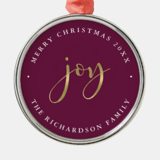 Golden Joy | Glam Purple Merry Christmas Christmas Ornament