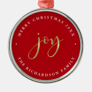 Golden Joy | Red Merry Christmas Christmas Ornament
