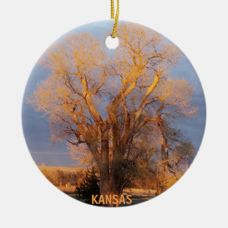 Golden Kansas Cottonwood Tree Christmas Ornament