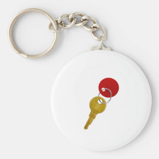 golden key with red tag key chain