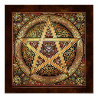 "Golden Knotwork Pentacle Poster (22x22"")"