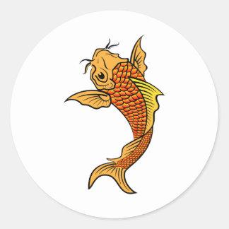 Golden Koi Fish Round Stickers