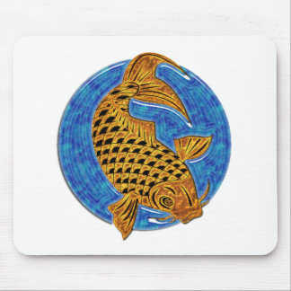Golden Koi in Blue Glass Pond Mouse Pads