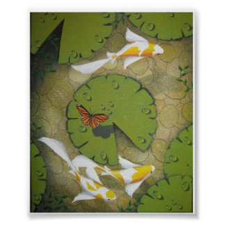 golden koi painting poster