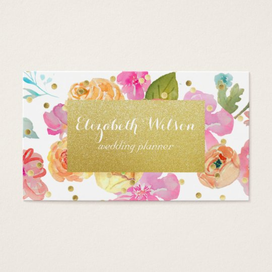 golden label and confetti on watercolor flowers business