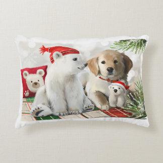 Golden Labrador and the polar bear Decorative Cushion