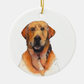 Golden Labrador Retriever Round Ceramic Decoration