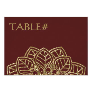 Golden Lace Table Number Cards Invites