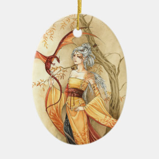 Golden Lady and Dragon fantasy art ornament