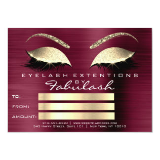 Golden Lashes Extension Makeup Certificate Gift Card