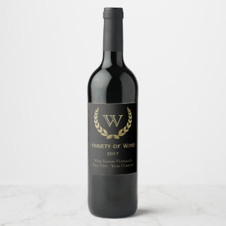 Golden Laurel Wreath Monogram Wine Label
