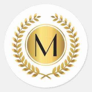 Golden Laurel Wreath Monogrammed Classic Round Sticker