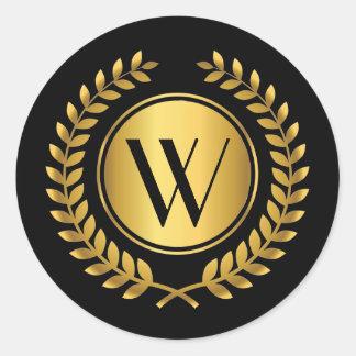 Golden Laurel Wreath Monogrammed Round Sticker