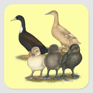 Golden Layer Duck Family Square Sticker