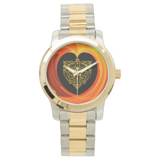 GOLDEN LEAF,  black orange yellow Wristwatches