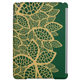 Golden leaf lace on green background