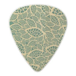 Golden leaf lace on green background acetal guitar pick
