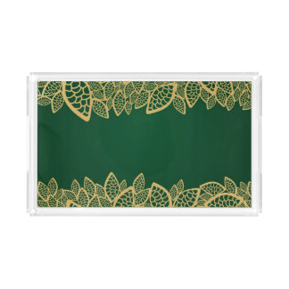 Golden leaf lace on green background acrylic tray