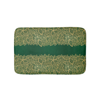 Golden leaf lace on green background bath mat