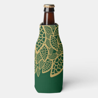 Golden leaf lace on green background bottle cooler