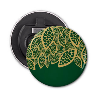 Golden leaf lace on green background bottle opener