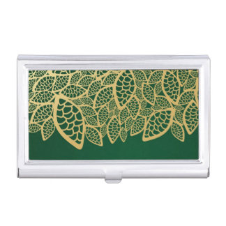 Golden leaf lace on green background business card holder