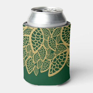 Golden leaf lace on green background can cooler