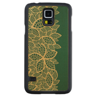 Golden leaf lace on green background carved maple galaxy s5 case