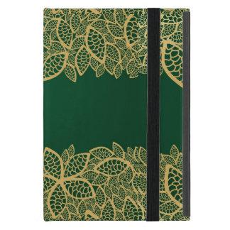 Golden leaf lace on green background cover for iPad mini