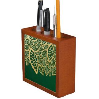 Golden leaf lace on green background desk organiser