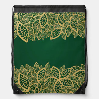 Golden leaf lace on green background drawstring bag