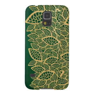 Golden leaf lace on green background galaxy s5 cover