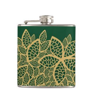 Golden leaf lace on green background hip flask