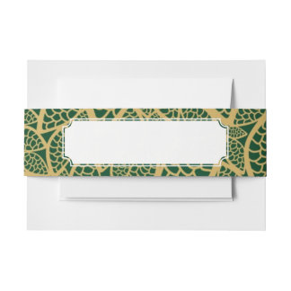 Golden leaf lace on green background invitation belly band