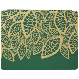 Golden leaf lace on green background iPad cover