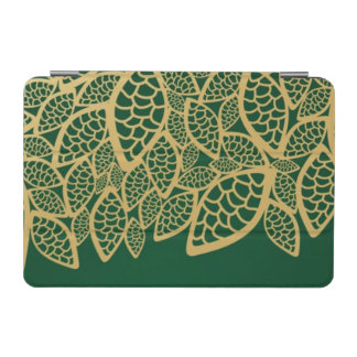 Golden leaf lace on green background iPad mini cover